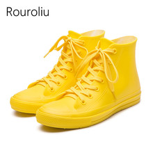 Rouroliu Women Autumn Flat Platform Rain Shoes Female Lace-Up Water Boots Wellies Waterproof Ankle Footwear Woman RT251