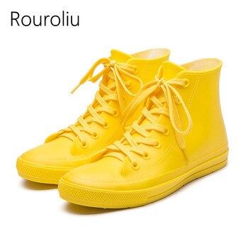 Rouroliu kobiety jesień płaski obcas kalosze damskie sznurowane buty wodne kalosze wodoodporne kostki obuwie kobieta RT251