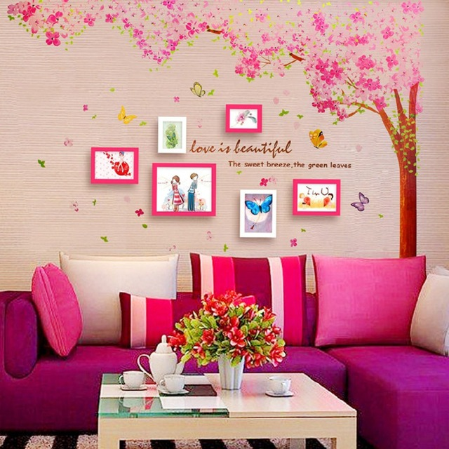 Large Pink Cherry blossoms Tree And Butterflies Wall Sticker