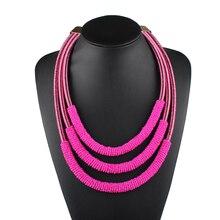 cee1139127e4 Claire Jin pequeño hecho a mano grano gargantilla Bohemia Collar corto mujeres  collares moda Manual trenzado Collar de joyería é.