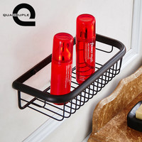 Quadruple Bathroom Shelves Black Bronze Net Basket Shelf Wall Mounted Hardware Accessories Hanging Storage Rack Bathroom Fixture