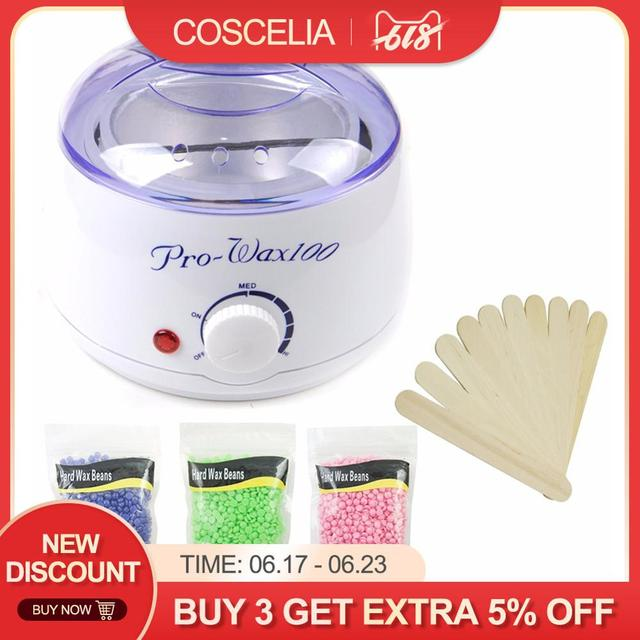 Electric Wax Heater Set 3 Packs Hard Wax Beans 10Pcs Stir Bar Hair Removal Machine Wax For Depilation Waxing Kit Health Care