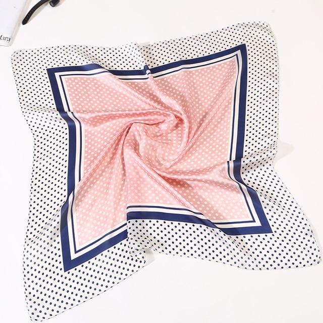 23b7f4054cb9 Frauen Mode Punkte Platz Schal Seide Schals Blau Stewardess Damen Büro Halstuch  Foulard Bandana 70x70 cm