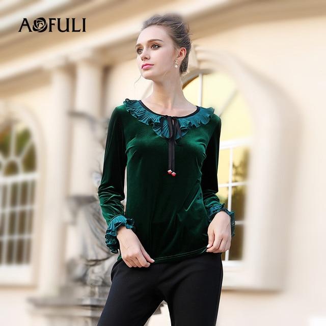7624b81e AOFULI Brand L-3xl 4xl 5xl Plus size Women Velvet T shirt Tops 2017 Winter  Vintage Green Long sleeve Ruffles Loose T-shirt