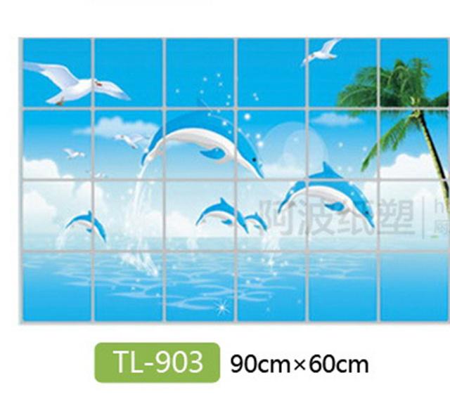Waterproof bathroom tile aluminum foil wall sticker home decor wall sticker dolphin fish beach ocean shell sailing drinks flower