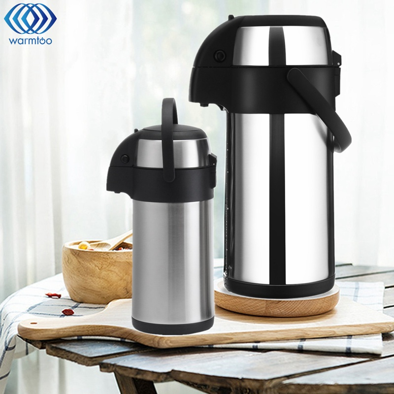 цены на Stainless Steel Coffee Pot 3L/5L Vacuum Pressure Type Keep Warm Kettle Action Airpot Hot & Cold Coffee Flask Jug Portable в интернет-магазинах