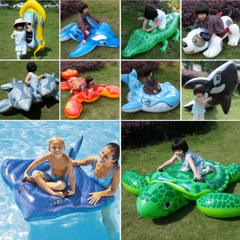 Children Swim Ring Inflatable Dolphin Shark Boat Baby Water Toys Child Seat Mounts Turtle Cartoon Animal Design