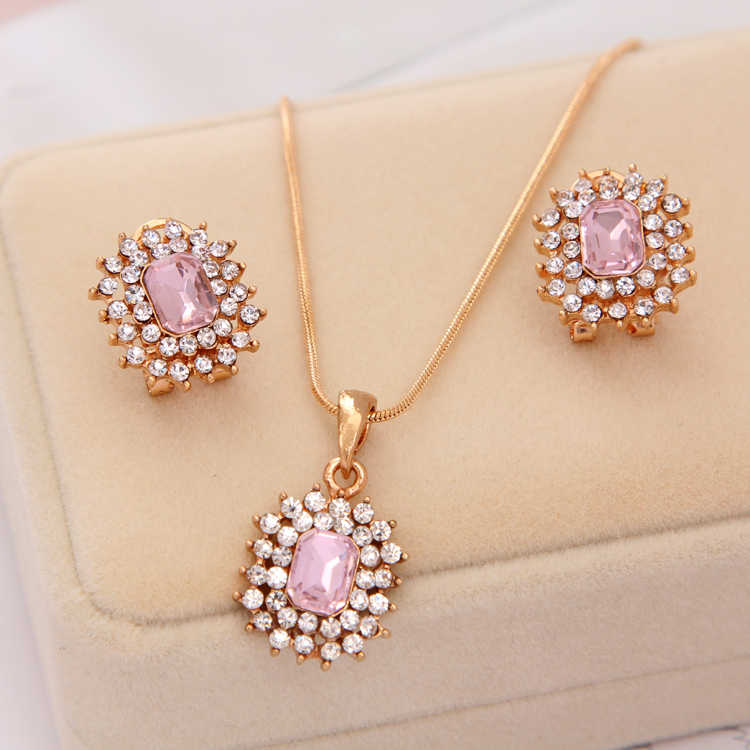 Luxury Square Rhinestone Wedding Jewelry Sets For Bridesmaids Full Crystal Long Chain Pink Stone Necklaces& Pendants Earring Set