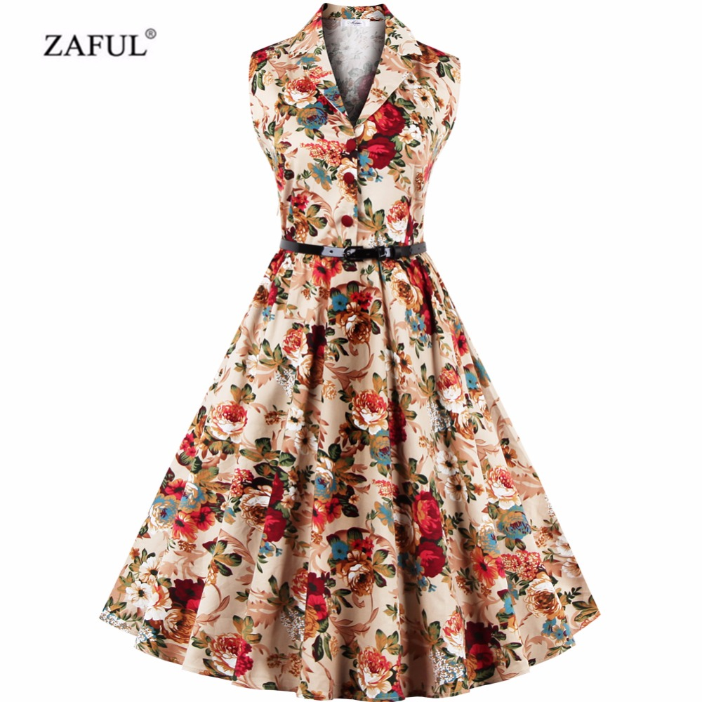 ZAFUL Women Retro Dress Audrey Hepburn Floral 50s 60s Rockabilly ...