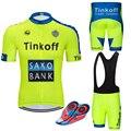 โรงงานขายตรง! SaxoBank Tinkoff เสื้อขี่จักรยานชุด/เสื้อผ้า Quick แห้ง Breathable ขี่จักรยานกีฬา
