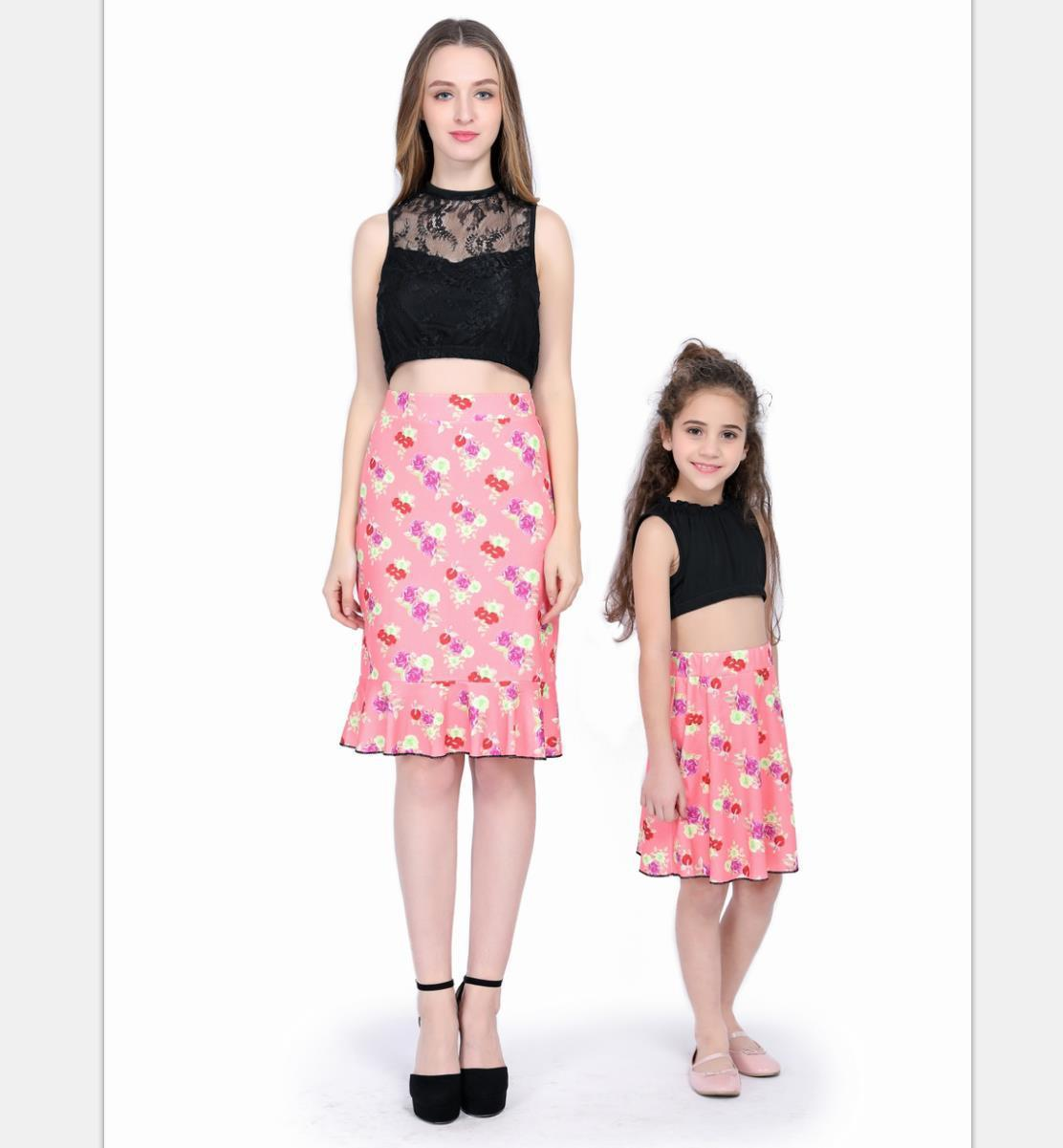 4f1e76abcd6ffd Top+Skirt Set for Mother and Daughter 2018 Summer Lace Fashion ...