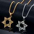 Men Star of David Pendant Necklace Stainless Steel Link Chain Gold/Silver Color Jewish Magen David Hexagram Necklace Statement