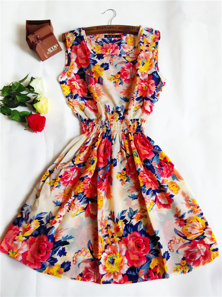 2015 New Brand Fashion Girl Apricot Sleeveless Round Neck Florals Print Pleated Dress Saias Femininas Dress ,20 Colors