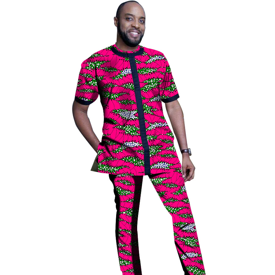 Fashion Africa Style Men Sets Clothes African Print Clothing Men Tops Trousers Sets T Shirt And Pants Festive Costume Customized Men S Sets Aliexpress