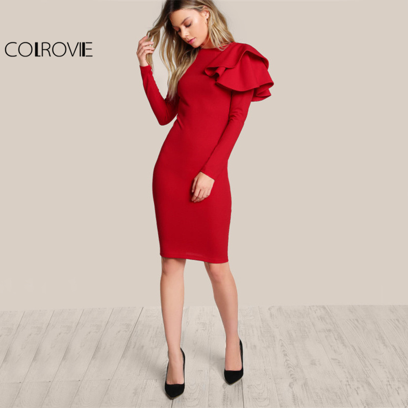 COLROVIE Red OL Elegant Bodycon Dress 2017 Women One Side Tiered Ruffle Cute Long Sleeve Dress Autumn New O Neck Sexy Midi Dress