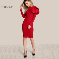 COLROVIE Red OL Elegant Bodycon Dress 2017 Women One Side Tiered Ruffle Cute Long Sleeve Dress