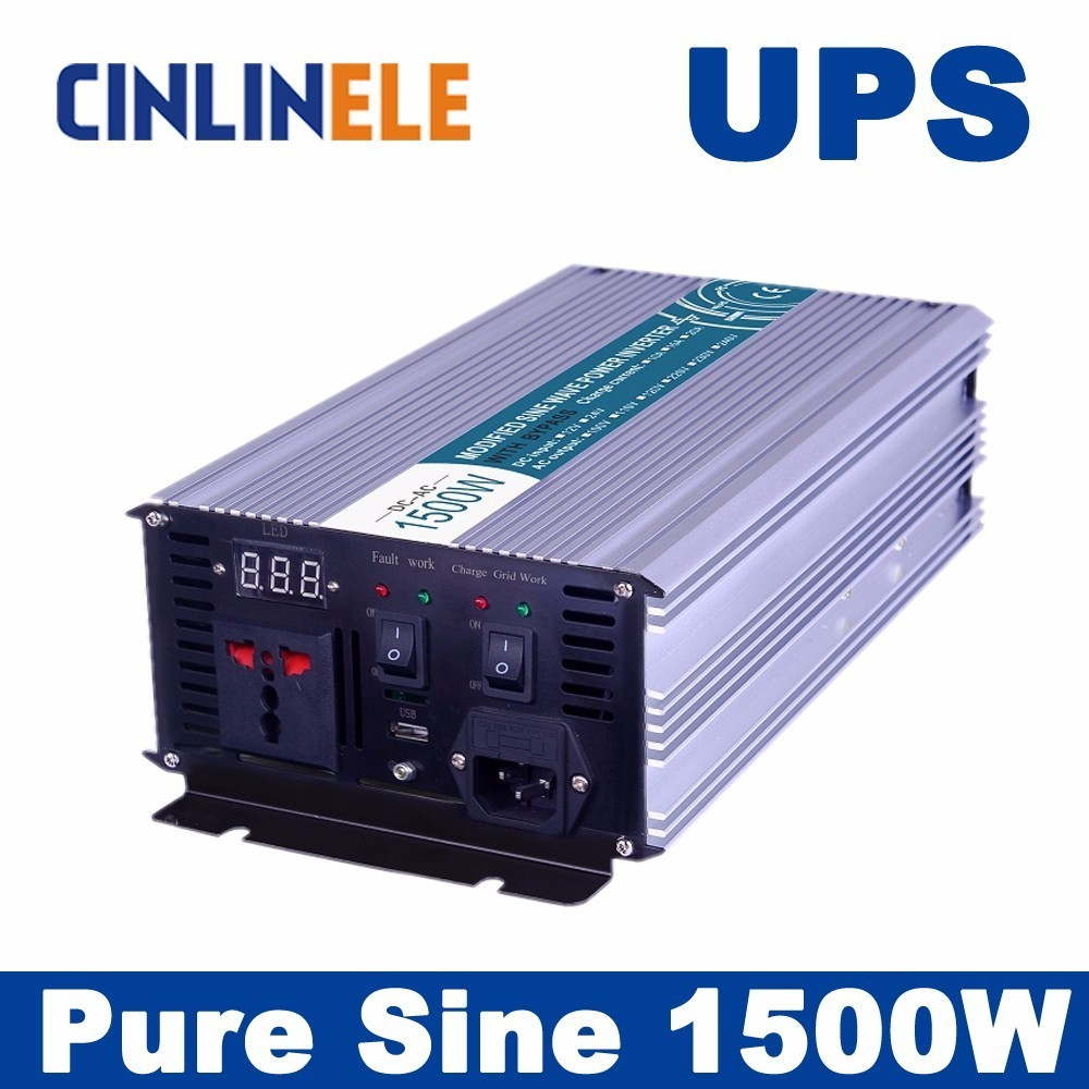 Universal inverter UPS+Charger 1500W Pure Sine Wave Inverter CLP1500A DC 12V 24V 48V to AC 110V 220V 1500W Surge Power 3000W 18pc canbus error free reading led bulb interior dome light kit package for audi a7 s7 rs7 sportback 2012