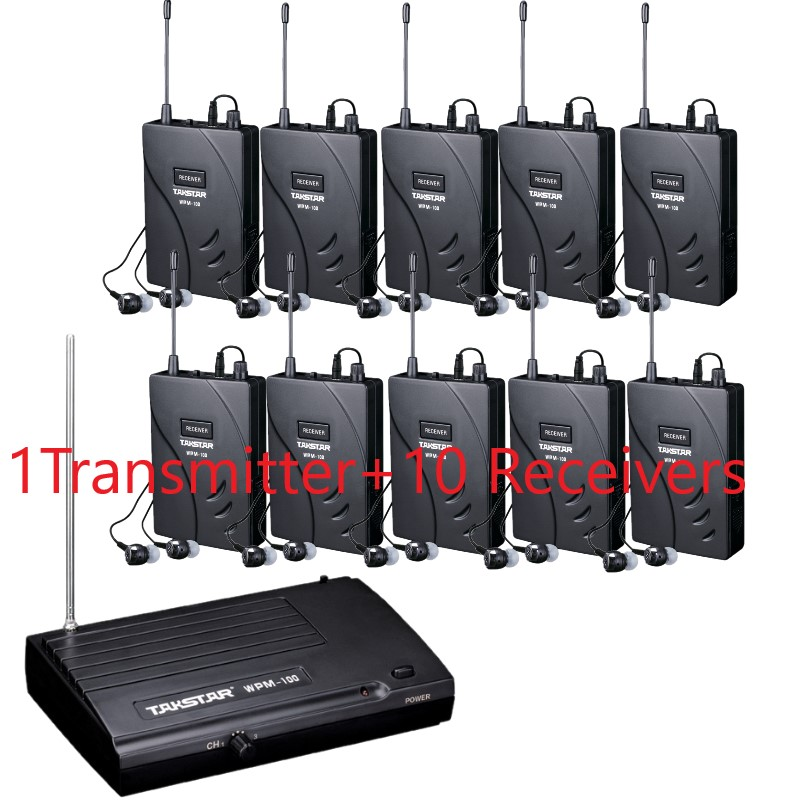 Upgraded version Takstar wpm 100 wpm100 Stage Wireless Monitor System In Ear earphone 1 Transmitter 10