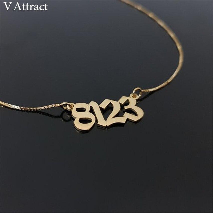 Geburt Jahr Halsband Box Kette Gold Alten Englisch Anzahl Halskette Benutzerdefinierte Brief Datum Lange Halsketten Personalisierte Gothic Schmuck Geschenk