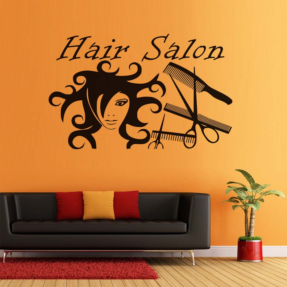 Hair salon dressing tools creative style wall sticker wall - Removable wall stickers living room ...