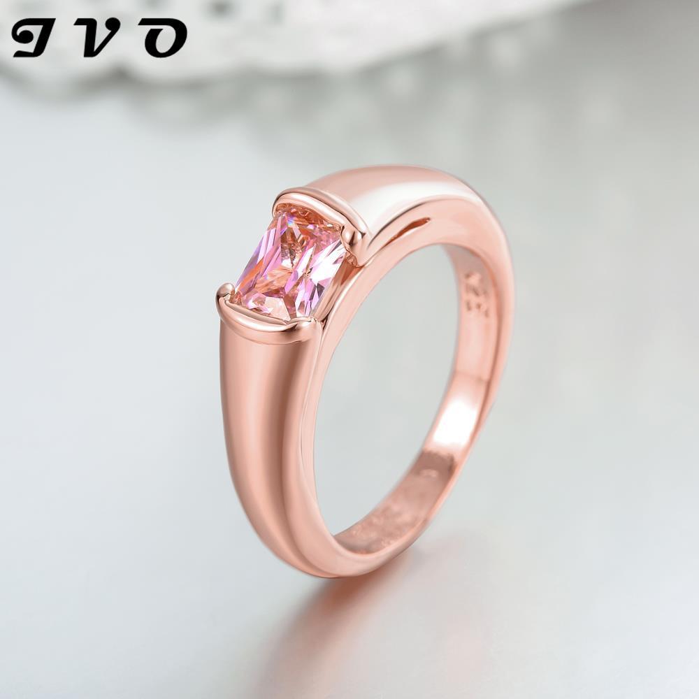 Rose Gold Rings for Women Wedding Ring Pink Stone Bijoux Femme Rings ...