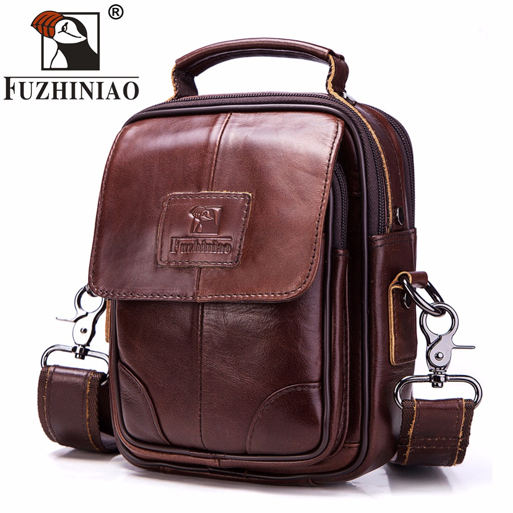 FUZHINIAO Genuine Leather Mens Bags Male Crossbody Bags High Quality Brands Small Flap Casual Messenger Bag Men's Shoulder Bag vintage canvas messenger bag high quality womens crossbody bags bend zipper design casual small flap tote bag