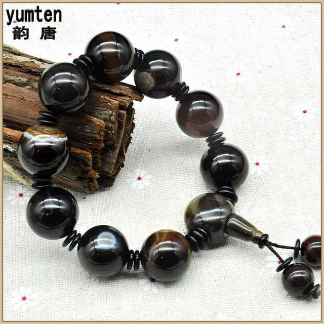 Yumten Round Natural Agate Stone Pulseira Masculina Pulseira Jewelry Erkek Bileklik Boncuk  Bangles Chunky Bracelet For Man
