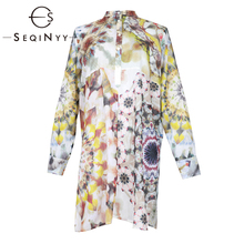 SEQINYY 100% Cotton Shirt 2019 Summer New Fashion Design Colorful Flowers Ink Printed Loose Straight Top