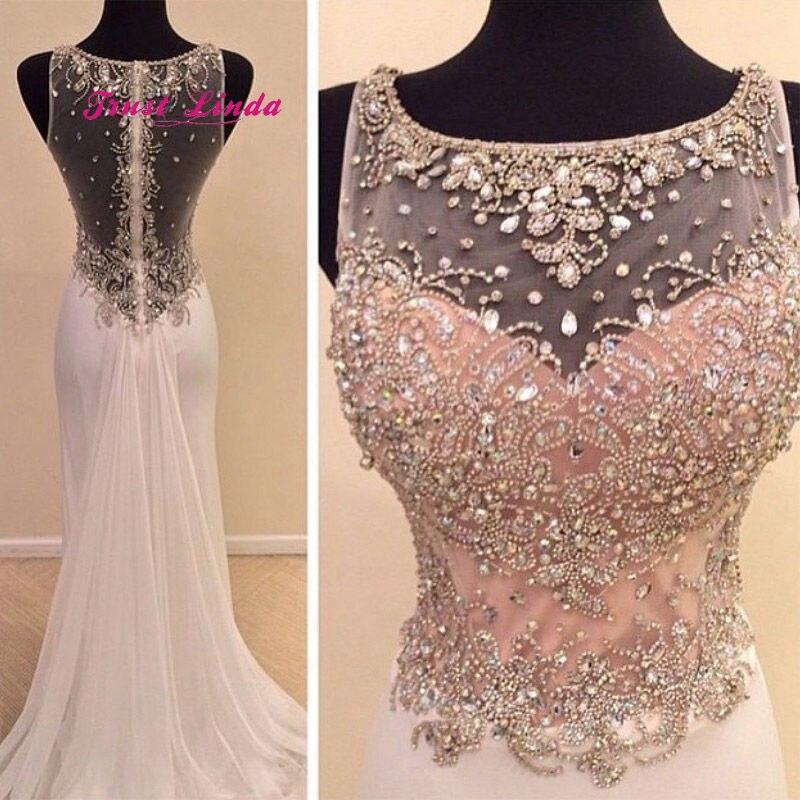 Blush Pink Prom Dresses 2018 See Through Back Floor Length Mermaid Crystal Beaded Long Party Dresses Formal Dresses