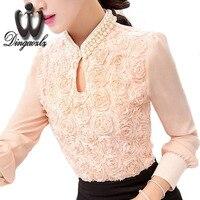 Kore Seksi hollow Bayanlar bluz Çiçek Boncuklu dantel uzun kollu Şifon gömlek Zarif Kadın gömlek Tops