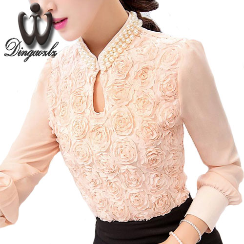 Korean Sexy hollow Ladies blouse Flower Beaded lace Tops long sleeved Chiffon shirt Elegant Women shirt