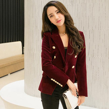 Korean Suit Jacket Women. Long-sleeved Jacket Solid Color Long-sleeved Slim Velvet Blazer Women Size:M-XXL Free Shipping