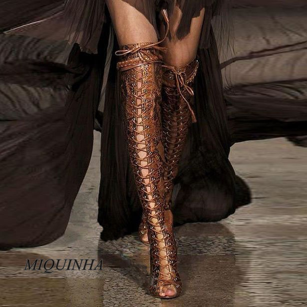 Stylish brown snakeskin thigh high boots over-the-knee lace up peep toe stiletto heel sexy metal heel boots