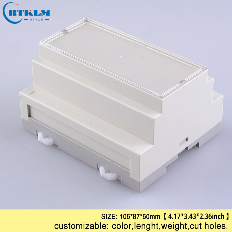 Din rail plastic enclosures small ABS junction box for electronic diy custom PLC housing for electronics project box 106*87*60mm one piece szomk rfid instrument plastic project box housing control plastic enclosures for electronics cabinet 125 103 38mm