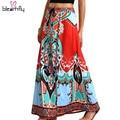 Falda ropa de impresión africano dashiki 2016 flare beach verano de boho maxi faldas de la vendimia de cintura alta imprimir tribal jupe longue femme