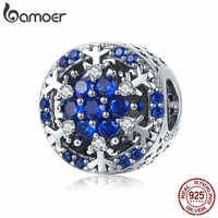 BAMOER High Quality 925 Sterling Silver Winter Snowflakes Flower Beads Blue CZ Charms fit Original Bracelets DIY Jewelry SCC1098