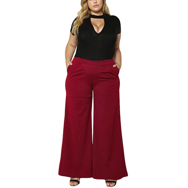 2019 mode Jogginghose Frauen Plus Größe Breite Bein Hosen XXXL Feste Seiten Taschen Hoher Taille Hosen Große Größen weibliche Schwarz //rot