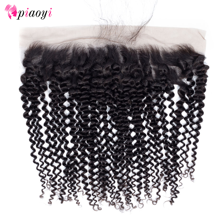 "Piaoyi Pre Plucked Brazilian Kinky Curly Lace Frontal Closure 8-22"" Ear to Ear Human Hair Lace 13x4 Closure Remy Hair(China)"