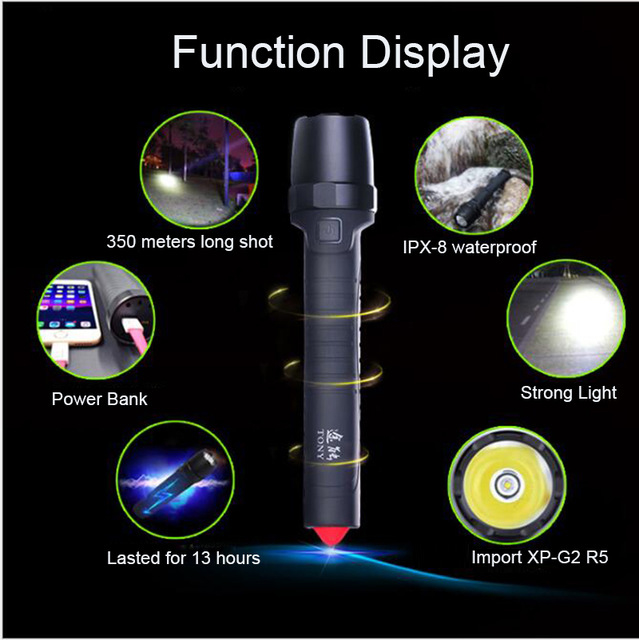 USB power Bank Import XP-G2 R5 Flash Led built-in battery 10400 mAh flashlight outdoor IPX-8 waterproof Car safety hammer multifunctional with 3 leds high power built in battery usb rechargeable flashlight power bank bluetooth speaker flashlight