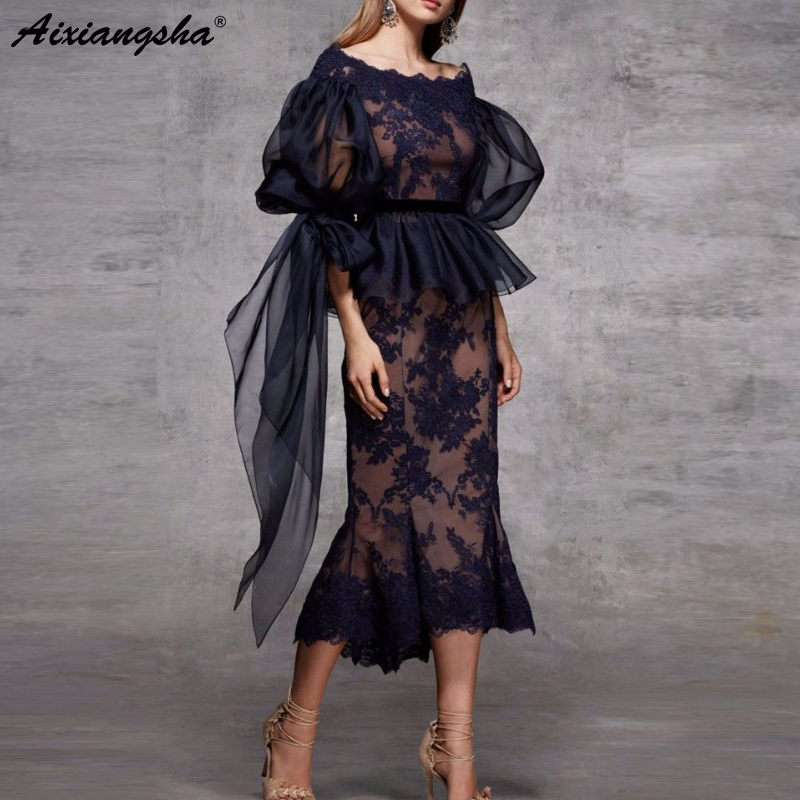 Abiye Gece Elbisesi Navy Blue Evening Dresses 2019 Peplum Sheer Sleeves Appliques Abendkleider Mermaid Lace Elegant Evening Gown