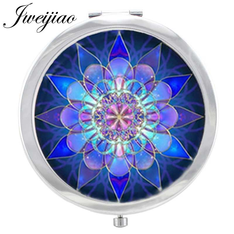JWEIJIAO Mandala Flower pattern Makeup Mirror Blue Purple Art image in Glass Cabochon Floding Round compact pocket Mirror espejo