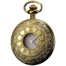 Retro KS Lujo Marca Dial Romana Steampunk Antique FOBS En Caso de Oro Japón Hombres Movimiento de Cuarzo Reloj de Bolsillo/KSP021