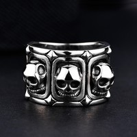 925 silver skull ring ring male, single domineering students personality self defense forefinger retro streets