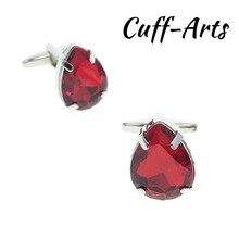 Cuffarts Jewelry Shirt Cufflink For Mens Brand Top Red Crystal Cuff link Luxury Wedding Groom Button High Quality C20136