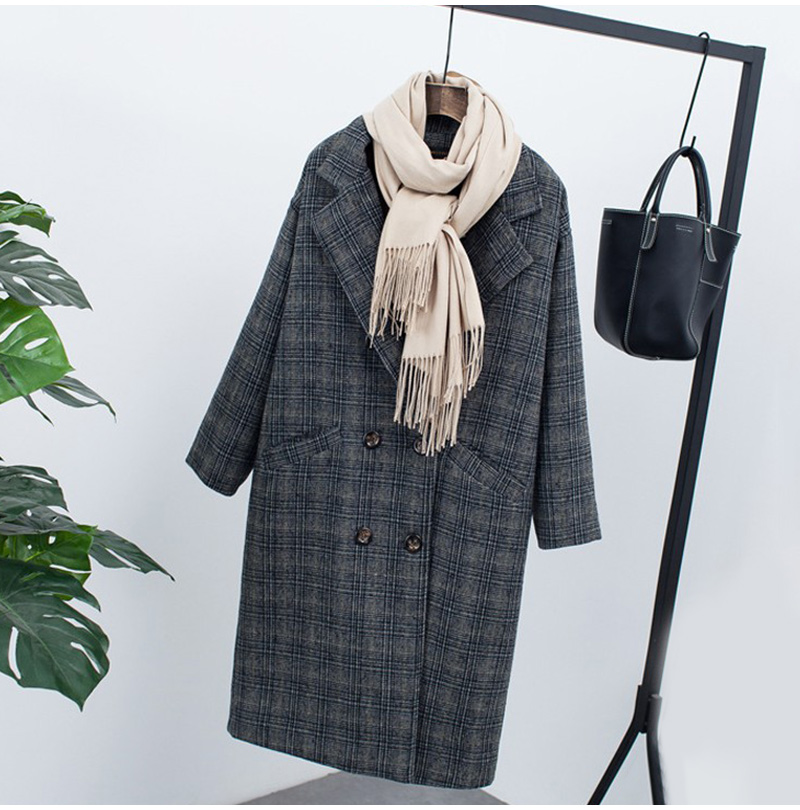 Winter Check Velvet Coat Female Notched Warm checkered Woolen Women's Coats Fleece Office Lady 19 Vintage Long Overcoat Woman 4