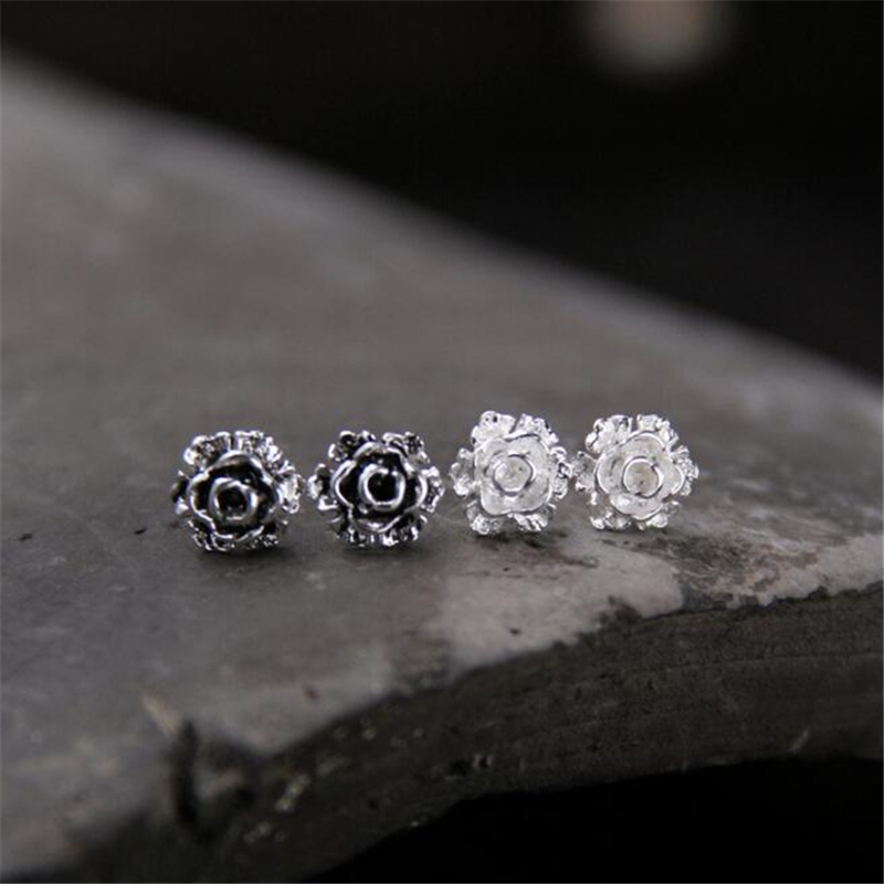925 Sterling Silver Earrings Vintage 7mm Small Flower Stud For Women Gift Sterling-Silver-Jewelry