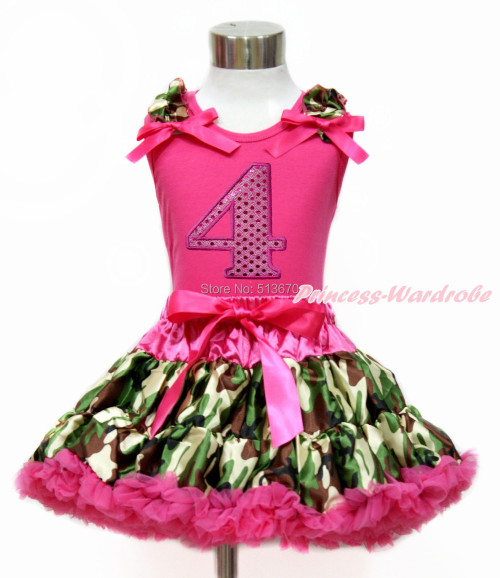 Hot Pink Sparkle 4TH White Top Camouflage Pettiskirt Set 1-8Year MG1210