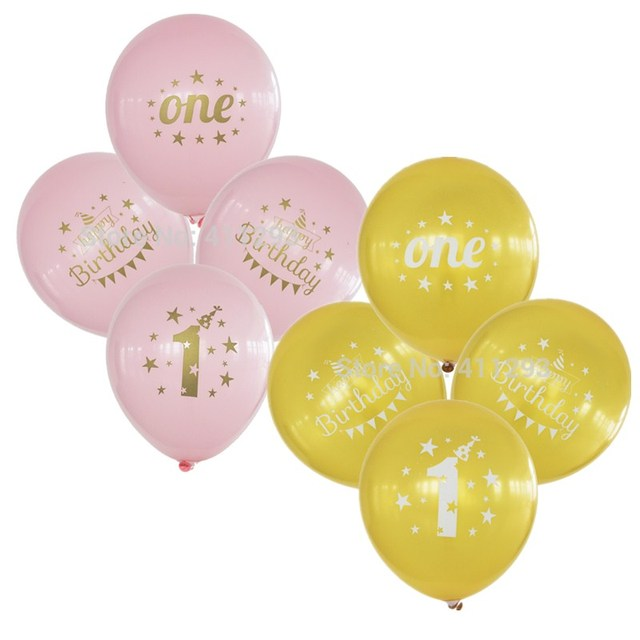 12pcs First birthday balloons 1st birthday balloon party decoration kids happy birthday pink blue balloon with gold writting
