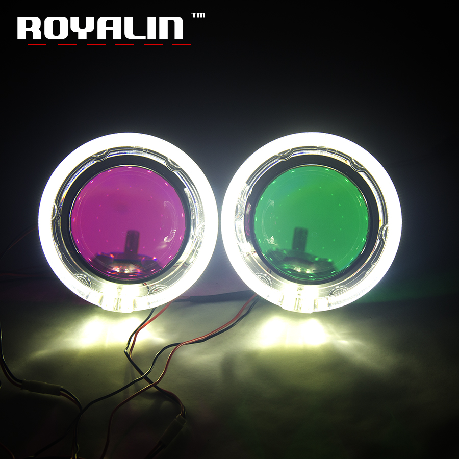 ROYALIN 3.0 Car Styling Xenon Lens Metal Projector Headlight Lens H1 W/ LED Angel Eyes Ring Light Guide For GTI-R Shrouds H4 H7 royalin car styling hid h1 bi xenon headlight projector lens 3 0 inch full metal w 360 devil eyes red blue for h4 h7 auto light