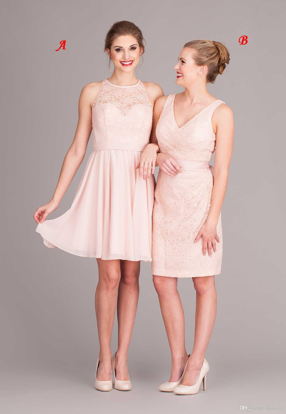 New Arrival Lace Beach   Bridesmaid     Dresses   2017 Summer Chiffon Cut Out Back A bove Knee Custom Made